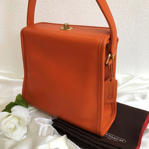 Vintage Coach Geometric Bag 9043 Tangerine Leather
